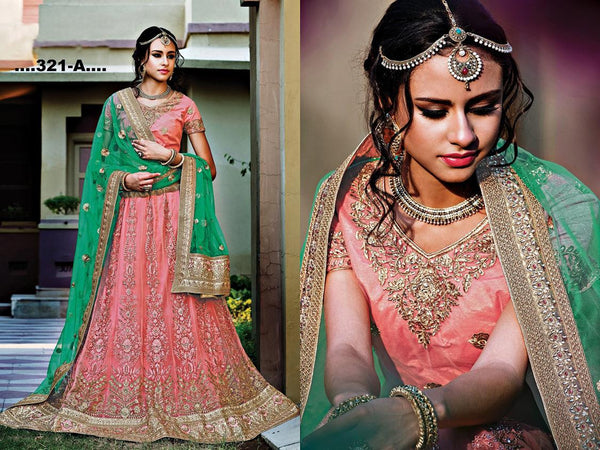 PRINCESS VOLUME 2 Multicolor Net Heavy Worked Lehenga,2PNS321-A