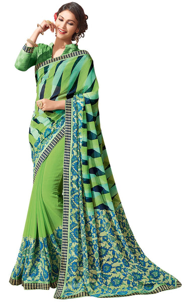 Green Georgette Printed and Lace border Saree32133