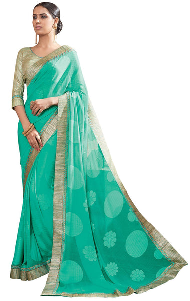 Green Georgette brasso Printed and Lace border Saree32148