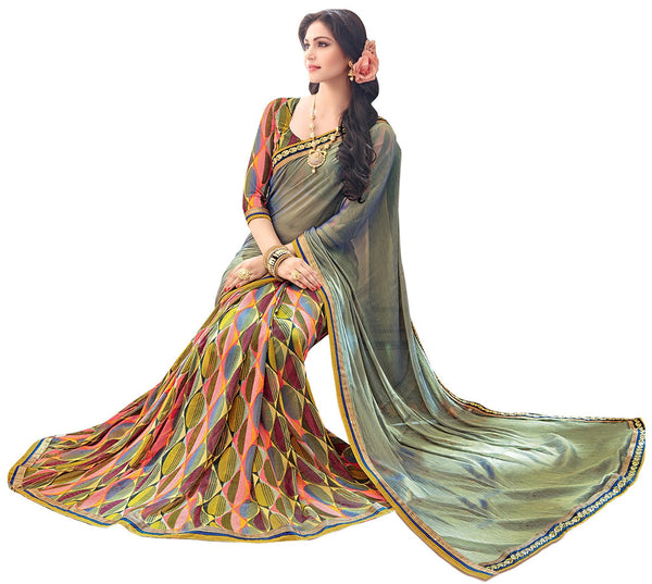 Green Yellow Chiffon Georgette Printed and Lace border Saree32150