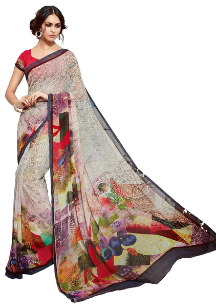 Cream Georgette Digital Print Saree VipHyp32934