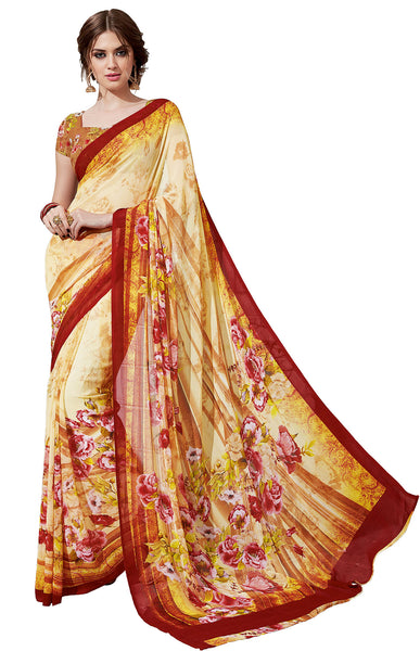 Vipul Georgette Printed Saree, VIP32935