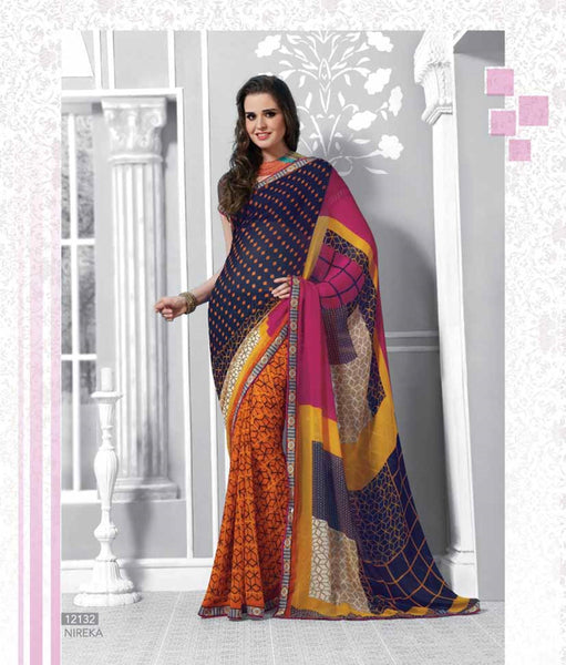 Blue Pink Orange Georgette  Printed with lace border work Saree VH,12132