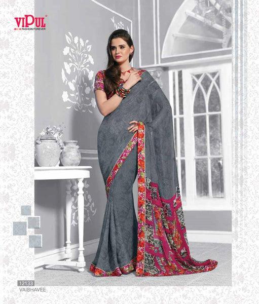 Grey Georgette  Printed with lace border work Saree V.HYP,12133