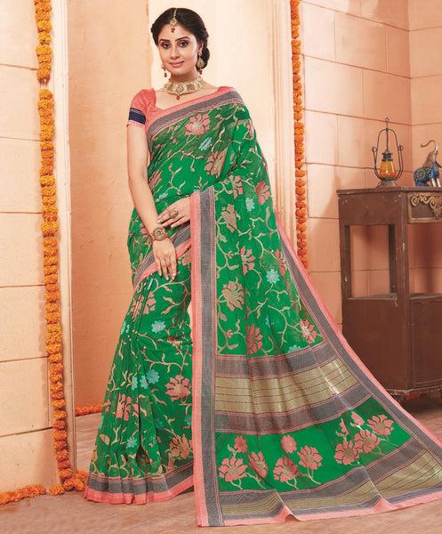 Green Art Silk Printed  Saree VipHypAmrapali34755