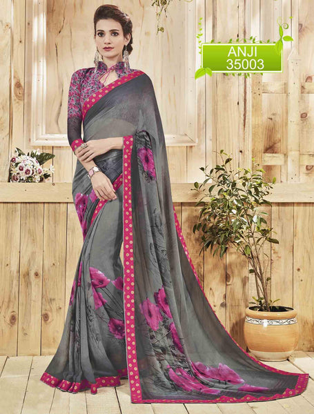 Grey Georgette Printed and Lace border Saree VipHyp35003