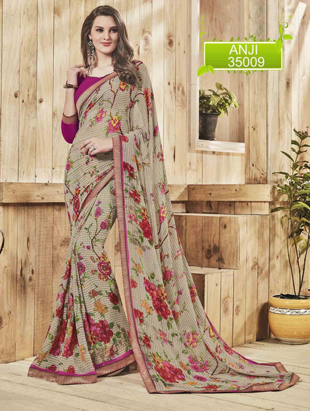 Cream Georgette Printed and Lace border Saree VipHyp35009