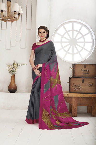 Grey Crepe Printed  Saree VipHyp35119