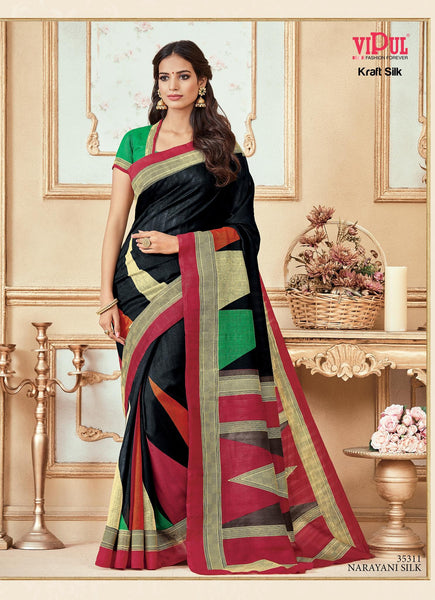 Black Bhagalpuri silk Printed  Saree VipHyp35311