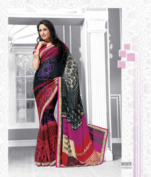 Black Maroon Georgette  Printed with lace border work Saree VH,12136