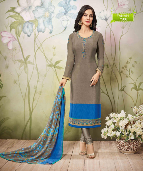 Cream Blue Crepe Zari, resham embroidery and Lace border Dress Material  VipHyp7506