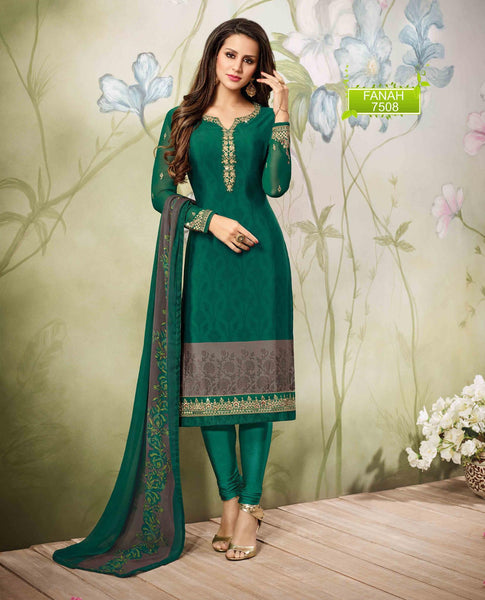 Green Grey Crepe Zari, resham embroidery and Lace border Dress Material  VipHyp7508