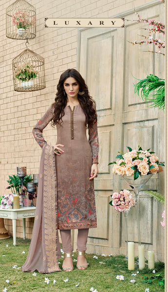 Brown Silk Satin Printed and Zari, Resham embroidery work Dress Material VipHyp7702A