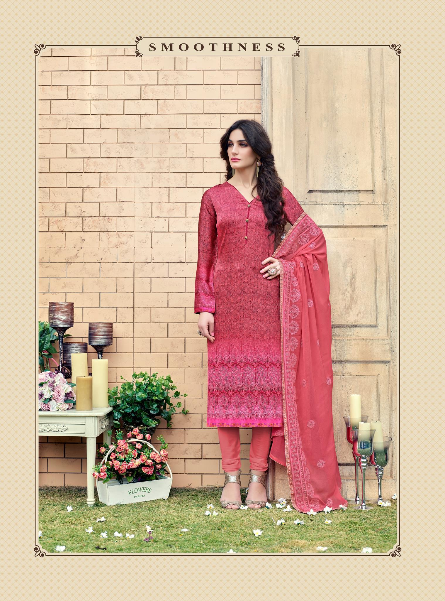 c87aa0f3fd2 Pink Silk Satin Printed and Zari