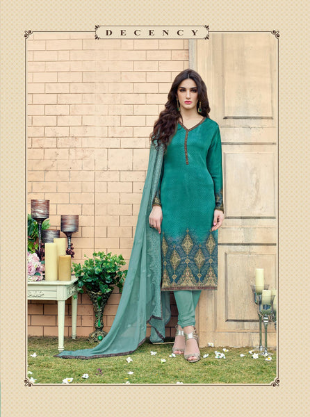 Green Silk Satin Printed and Zari, Resham embroidery work Dress Material VipHyp7709A