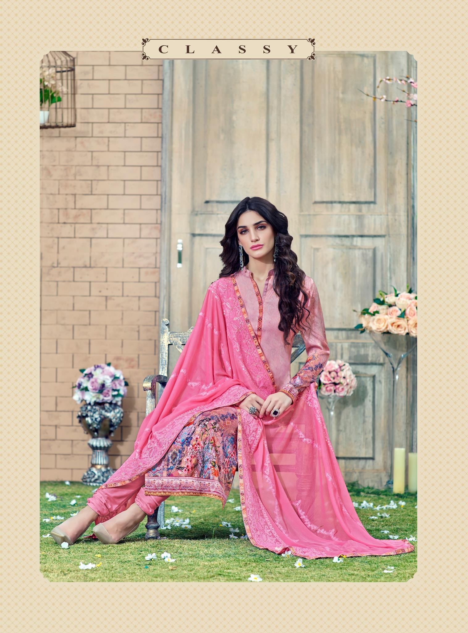 c1e7fdfe4ee Peach Silk Satin Printed and Zari