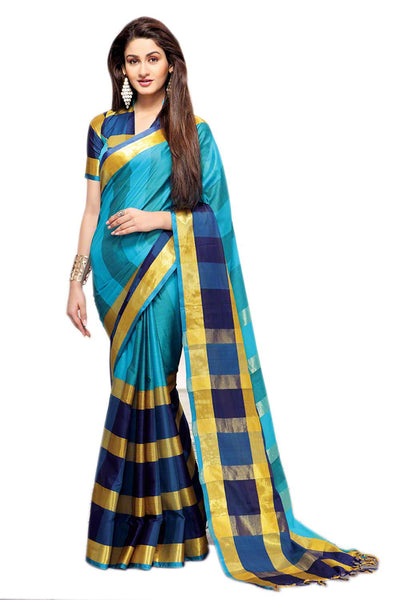 Aura Designer saree  Blue Cotton,AuAreesa