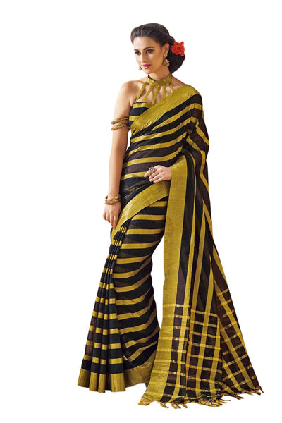 Aura Designer saree  Black Cotton,AuFlame