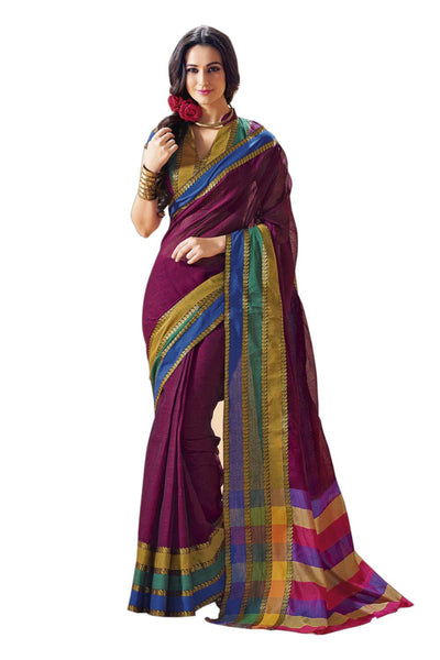 Aura Designer saree  Purple Cotton,AuFlorus