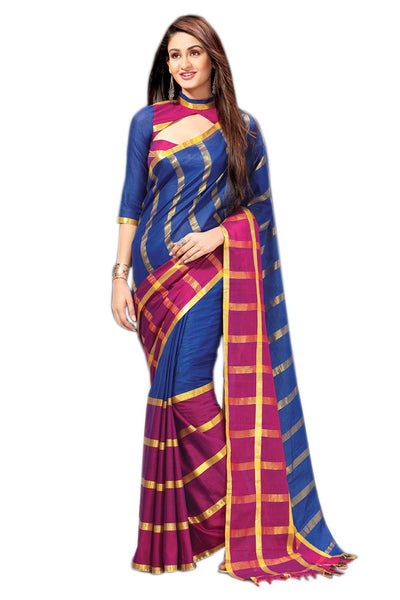 Aura Designer saree  Blue Cotton,AuHimanshi