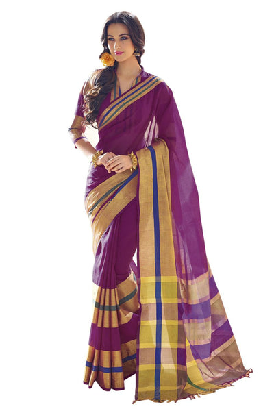 Aura Designer saree  Purple Cotton,AuIris