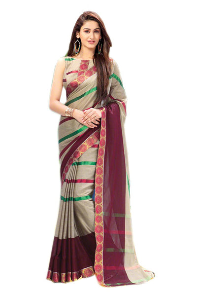 Aura Designer saree  Grey Cotton,AuJasper