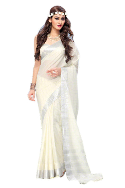 Aura Designer saree  White Cotton,AuMercy