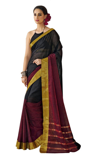 Aura Designer saree  Black Cotton,AuNallie