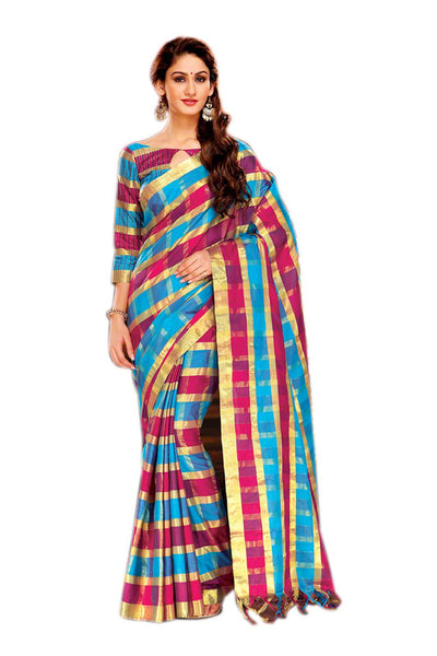 Aura Designer saree  Blue Cotton,AuNihaara