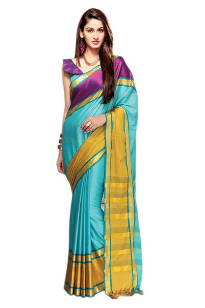 Aura Designer saree  Cyan Cotton,AuPearl