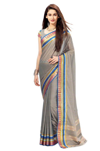 Aura Designer saree  Grey Cotton,AuRabia