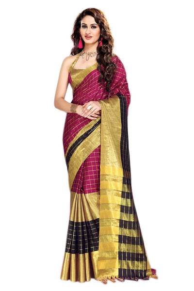 Aura Designer saree  Red Cotton,AuSenorita