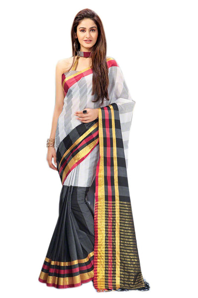 Aura Designer saree  Grey Cotton,AuSirisha