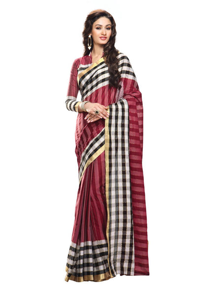 Aura Designer Saree Red Cotton , Auaarushi