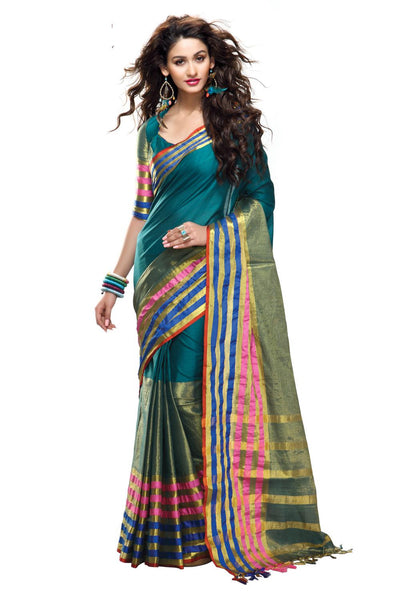 Aura Designer Saree Blue Cotton , Auaasma