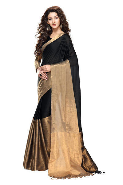 Aura Designer Saree Black Cotton , Auaryaa