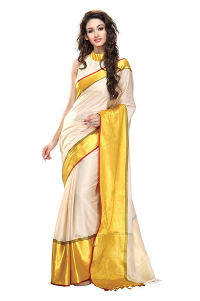 Aura Designer Saree White Cotton , Aubeynaaz