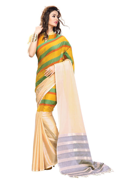 Aura Designer Saree Cream Cotton , Aucelia