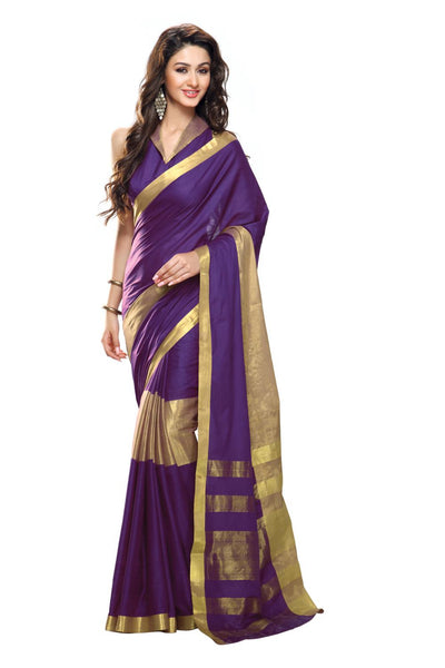 Aura Designer Saree Purple Cotton , Aumiraya