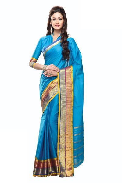 Aura Designer Saree Blue Cotton , Aunicole