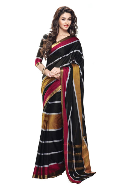 Aura Designer Saree Black Cotton , Autaskeen