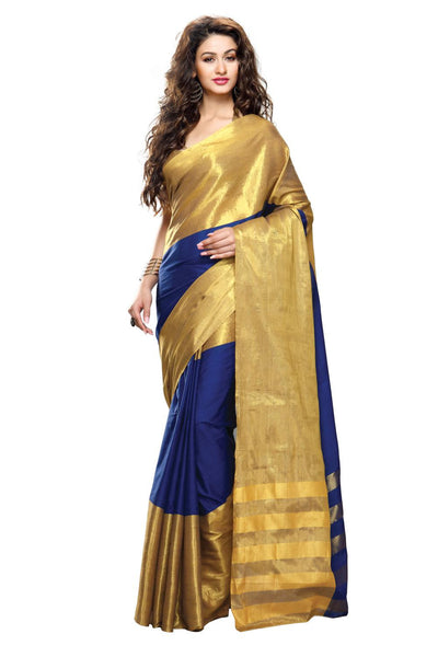 Aura Designer Saree Blue Cotton , Auzuri