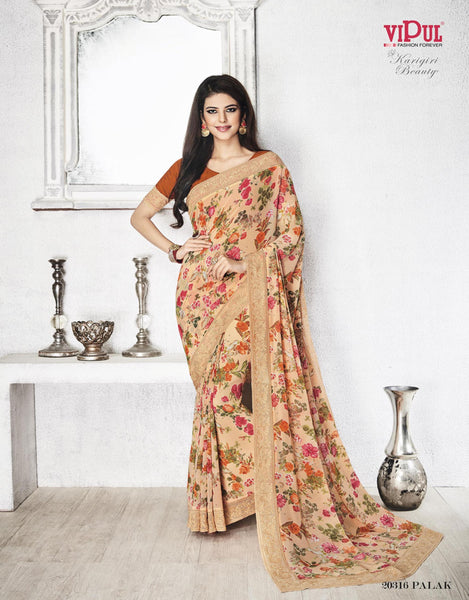 Cream Georgette Printed with Embroidery Lace border Saree VipHyp20316