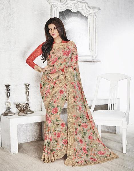 Cream Georgette Printed with Embroidery cut border Saree VipHyp20320