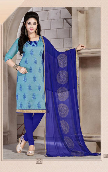 Tanishq Blue Chanderi Unstitched dress material,KVCTN47007