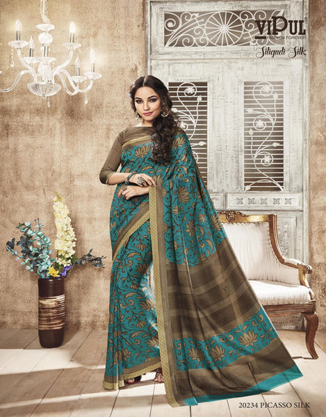Blue Art Silk Printed Work Saree VipHyp20234