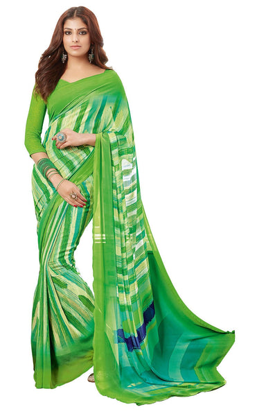Green Georgette Printed work Saree VipHyp18317