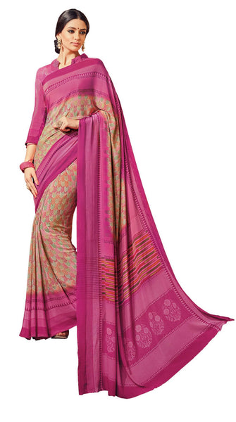 Brown Pink Crepe Printed work Saree VipHyp18406