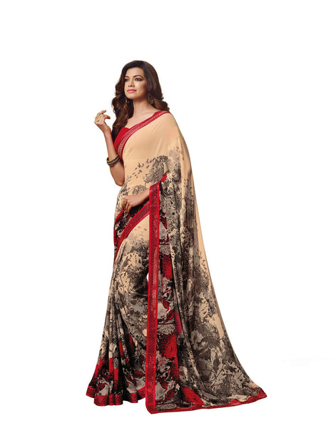 Cream Georgette Printed with Lace border Saree VipHyp18627