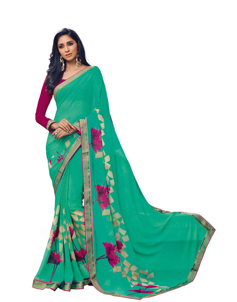 Green Georgette Printed with Lace border Saree VipHyp18635